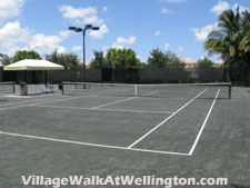 Being an active community, Wellington's Village Walk provides plenty of lighted Har-Tru tennis courts for resident enjoyment.